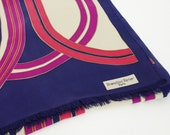 Bianchini Ferier Paris 1970's Vintage Long Navy Pure Silk Twill Signed French Designer Scarf