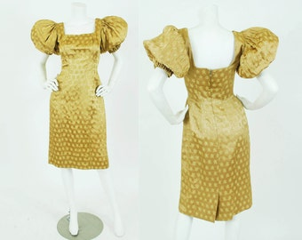 Suzy Perette 1950's Vintage Gold Silk Satin Floral Dramatic Puff Sleeve Evening Dress