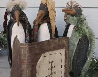Primitive Folk Art Whimsical Holiday Penguin Epattern