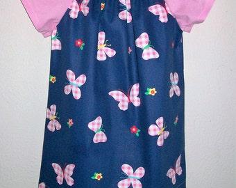 Girls Dress with Butterflies Peasant Dress with Flutter Sleeves Butterfly Dress Dress Summer dress baby dress toddler dress Denim Dress