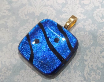 Blue Pendant, Royal Blue Necklace, Fused Glass Jewelry OOAK, Omega Slide, Large Gold Bail - Deep Blue Sea - 2907-6