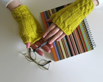 Yellow Wool Women Fingerless Gloves, Mittens, Wool Hand Warmers, Winter Hand Knit Gloves, Gifts for Her, Winter Accessories, Yellow Mitts