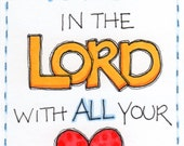 "ACEO Artist Trading Card Original Illustration - Folk Art - Cute Whimsical - 2.5"" X 3.5"" - Trust In The Lord With All Your Heart - Prov. 3:5"