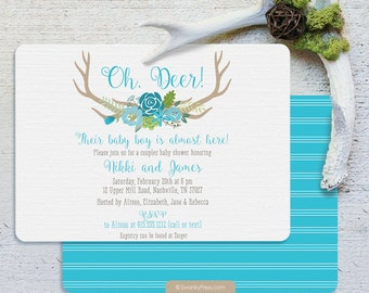 Antler Baby Shower Invitation - Boy Baby Shower invitation - Oh Deer by Swanky Press - Couples Baby Shower Invitation