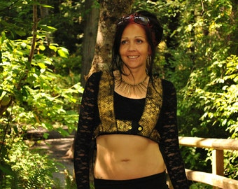 Sacred Geometry Vest with Stash Pockets, Black and Gold