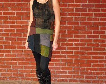 Patchwork Pixie Dress, Festival Clothing, Organic Hand Dyed, Eco Gypsy Clothes, Intergalactic Apparel