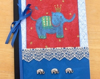 Lined Blank Journal, Notebook, Bullet Journal, Travel, Writing, Diary, Prayer Journal OOAK King Elephant Blank Notebook & Bookmark PSS 2677