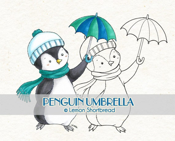 Digital Stamp Penguin Umbrella, Digi Winter Holiday Merry Christmas, Animal, Scrapbooking Clip Art, Coloring Page, Instant download