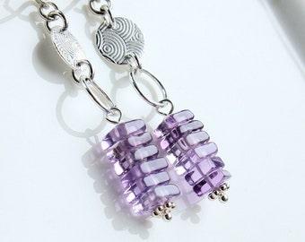 Purple Amethyst Earrings Gemstone Jewelry February Birthstone Jewelry Lilac Amethyst Jewelry Violet Dangle  Earrings Stack Gem Stone