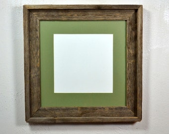 Earth friendly 12x12 repurposed wood picture frame with mat for 10x10 or 8x8 photo or print