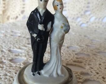 Unique Vintage 1930s 1940s Bridal Marriage Bride Groom Wedding Cake Topper heirloom