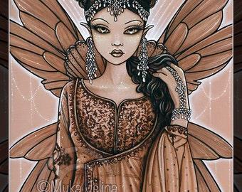 "SALE Reina Lt Ed Embellished  8"" x 10"" Canvas Indian Fairy Queen Art Brown Bronze Fae Myka Jelina"