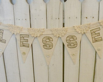 Prairie Rustic BLESSED Banner pennant coffee stained Farmhouse decor ECS,svfteam RDT FVGteam