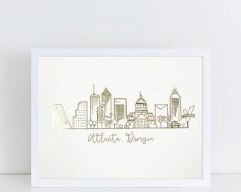 Gold Foil Atlanta, Georgia Skyline Art Print