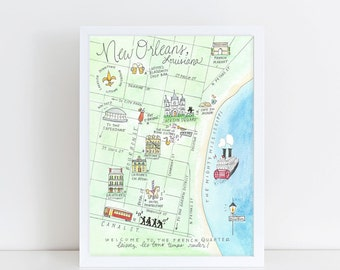 New Orleans, Louisiana Map Art Print