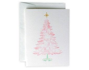 Pink Christmas Tree Greeting Card or Notecard Set