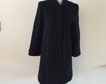Vintage Black Persian Lamb Coat 1940s High collar box coat sz S/M