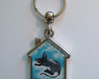 DEVON REX CAT Angel Keyring/handbag charm with print from original painting by Suzanne Le Good