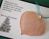 Leaf Ornament Gold, Real Aspen Leaf, Rose Gold Leaf Extra Large, Ornament Gift, Christmas Card, Leaf, Tree Ornament, Wedding, ORNA7
