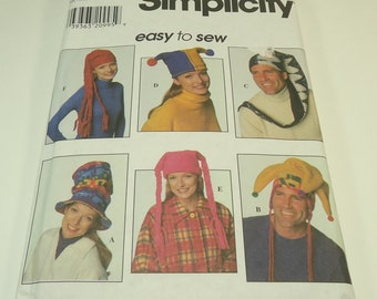 Simplicity Easy To Sew Misses, Men's, Teens' Hat Pattern 7880 Size S M L