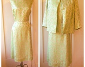 50s 60s brocade dress set / Gold LIME GREEN paisley / vintage cocktail party dress, bridal evening, large xlarge xl plus size, bust 48