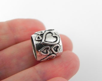10 Heart Textured Barrel Beads - Tube Beads - in Antique Silver - 12mm x 13mm with Large 9mm Hole - Heart Design