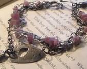 Pink Tourmaline and Sterling Bracelet