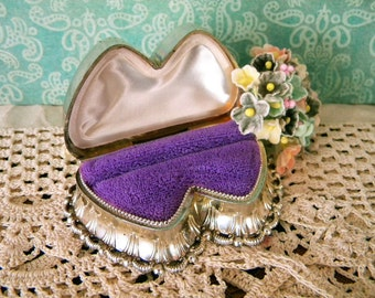 Vintage Heart Shaped Double Ring Box with Purple Velvet Interior Silver Plastic Ruffled Presentation Box Valentine's Day