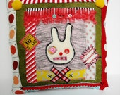 Handmade Art Pillow (Bunny Picnic Wonky Pillow)