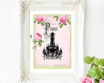 Chandelier print, Paris, French vintage decor, silhouette, pink bedroom decor, A4