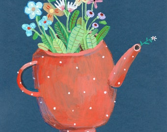 kettle with flowers    Original Painting , home decor