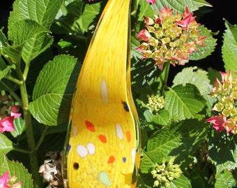 Sunshine Yellow Glass Leaf Garden Art Sculpture Outdoor Decoration Garden Finial