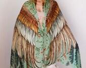 Womens Silk Scarf, Hand Painted Scarf, Wings scarf, Bohemian Shawl, Feathers Shawl, Digital Print Sarong, Girlfriend Gift, Silk Wrap