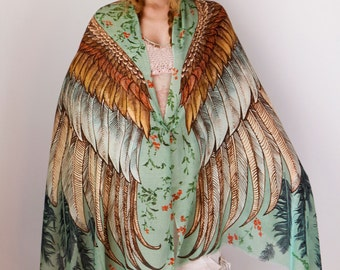 Womens Silk Scarf, Hand Painted Scarf, Wings scarf, Bohemian Shawl, Feathers Shawl, Digital Print Sarong, Girlfriend Gift, Silk Wrap