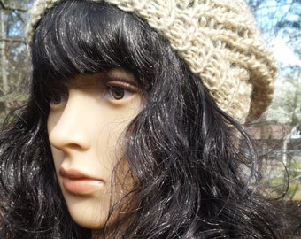 REDUCED Slouchy Beanie Beige Lacy Hand Knit Wool and Soy yarn READY to SHIP