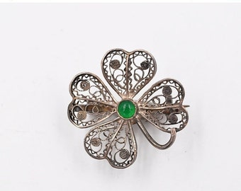 Vintage 800 Silver Filigree Clover Brooch Pin, Four Leaf Clover, Green Glass, C Clasp, Good Luck Pin! #b424