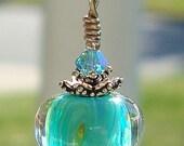 Artisan Lampwork Sterling Silver Crystal Pendant Necklace Margherita Time dmfsparkles