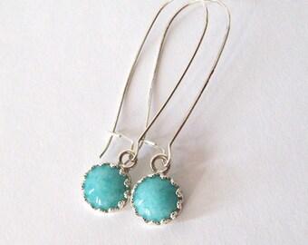 Amazonite Earrings, Cabochon Gemstones, Crown Setting Sterling Silver Filigree, Long Kidney Wires, Hooks, Posts or Leverbacks