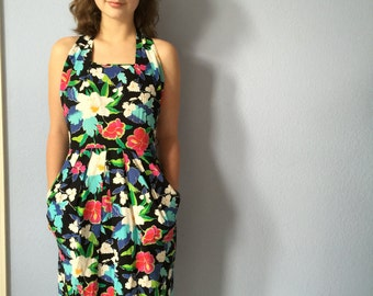 Vintage Summer Dress -1980s Floral Ms Chaus - Small XS