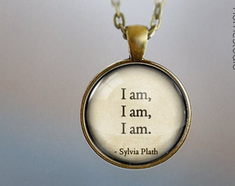Sylvia Plath (I Am) : Glass Dome Necklace, Pendant or Keychain Key Ring. Gift Present metal round art photo jewelry by HomeStudio