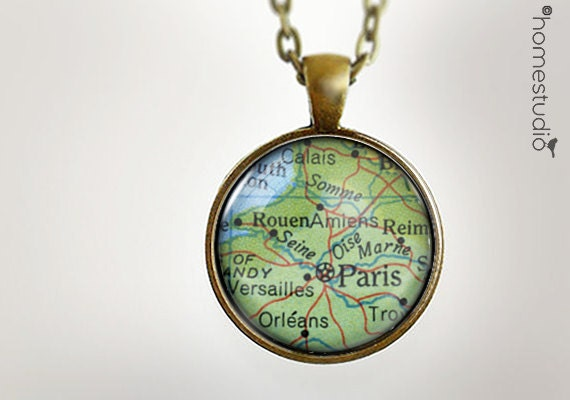 Paris Map : Glass Dome Necklace, Pendant or Keychain Key Ring. Gift Present metal round art photo jewelry HomeStudio. Silver Copper Bronze