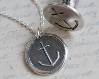 wax seal necklace - anchor … hope, salvation, stability - sterling silver antique nautical wax seal jewelry