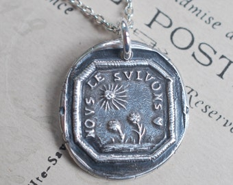 sun and flowers wax seal necklace ... NOUS LE SUIVONS - we follow - French antique wax seal jewelry