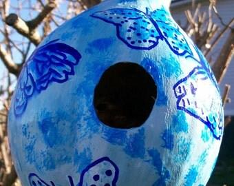 Blue Dot Butterflies:  Handpainted Gourd Birdhouse