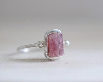Rubelite ring. Sterling silver ring with Rubelite crystal. Raw Rubelite, Pink Tourmaline, raw Rubelite ring, pink gemstone, crystal ring.