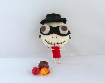 Halloween Felt Art Doll Bad Bones Boy in Zorro Mask Halloween decoration, Felt ornaments