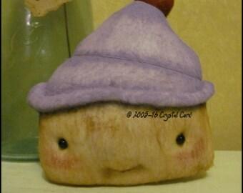 Cupcake Doll Purple Whimsical creepy cute  country food sweet kitchen decor Farm Quirky hafair ofg team