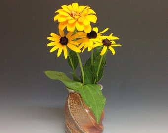 Flower Vase. Faceted Twist Soda Fired Pottery. Weed Pot.