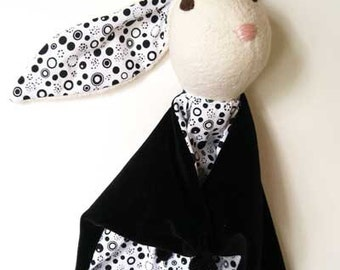 Baby Bunny Blanket , All Natural Materials, Black and White