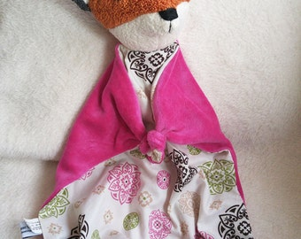 Baby Fox Blanket , All Natural Materials, Pink